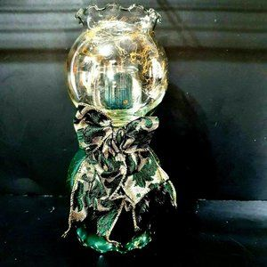 Other - VINTAGE Double Green Gold Glass Globe Candle Holdr